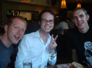Two Brits and Brian enjoy libations in Philly's Tria.